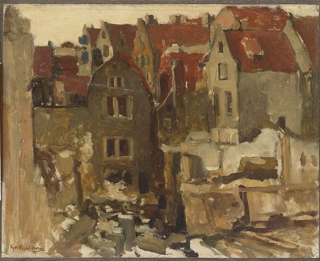Breitner olieverfstudie van een bouwput uit het Amsterdam Museum (collectie Rijksmuseum)