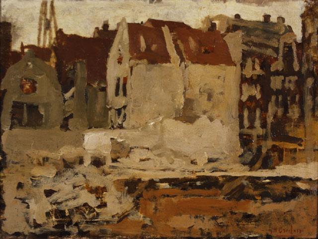 Breitner olieverfstudie van de bouwput voor Maison de la Bourse, Amsterdam