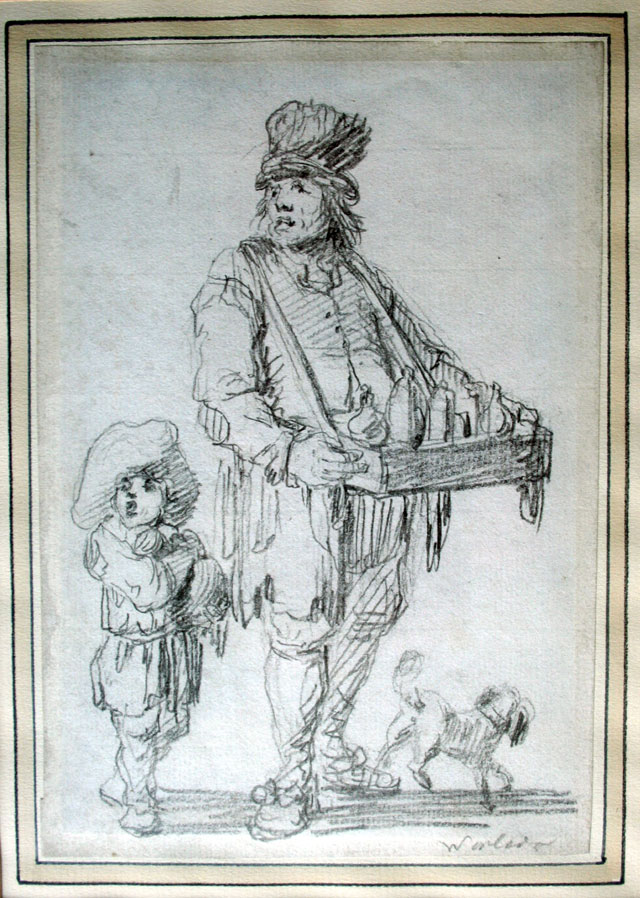 WORLIDGE, THOMAS (1700-1766)  a salesman with his merchandise and a boy holding a bottle, both shouting in order to attract customers, with a dog. Pencil drawing on paper.
