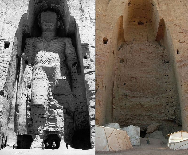 Taller Buddha of Bamiyan before and after destruction