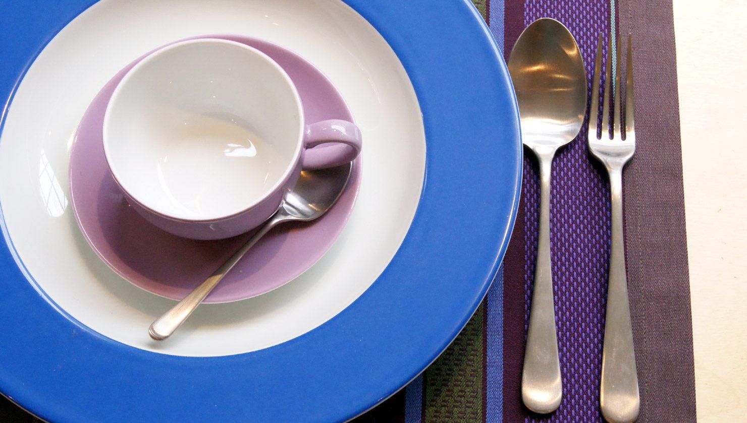 Een van de vele kleurcombinaties die mogelijk zijn met Dibbern Solid Color servies