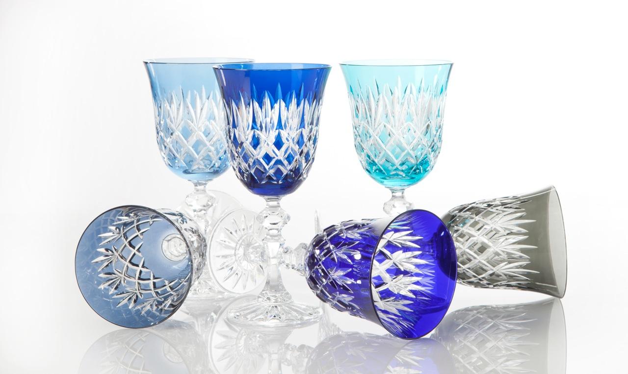Luxoria handgeslepen kristallen wijnglazen in 17 kleuren