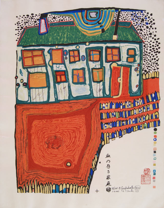 """Friedensreich Hundertwasser (1928 - 2000) Blood Garden House (Blutregenfieberhaus) HWG 63, 463A Japanese woodcut in 20 colors, on Japon, published in 1974 by Grüner Janura AG, Glarus in an edition of 200, signed and numbered from1 to 200, with the work number 463A. Signed and dated in ink """"Vienna 14 February 1975"""", numbered 78/200, inscribed (in many Japanese color woodcuts the title of the work has been printed in Japanese characters) and with Japanese inkan stamps (of publishers, printers, paper and paint producers, or of the coordinators involved) and colour-separation marks; with margins, framed. B. 540 mm x 430 mm S.475 mm x 370 mm Cut by Hideo Maruyma Horishi, Kyoto. Printed by T. Matsuoka Surishi, Kyoto, 1973. Part of the gold printed by Matashiro Uchikawa Surishi, Tokyo 1973. Coordinator: Yuko Ikewada."""