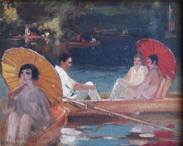 Han van Meegeren, De plas, roeiboten op het water. Olie op paneel, linksonder gesigneerd.
