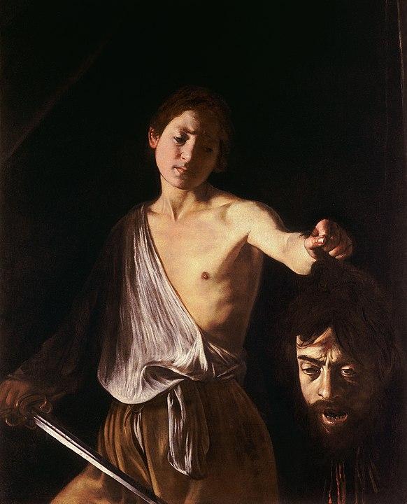 Caravaggio, David met het hoofd van Goliath, ca 1610. Doek, 125 cm × 101 cm. Galleria Borghese, Rome. Kunstblog door Marc Schreuder